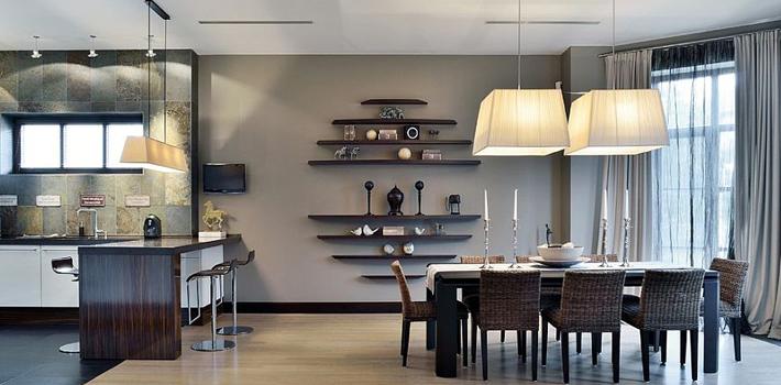 Серый цвет в интерьере столовой